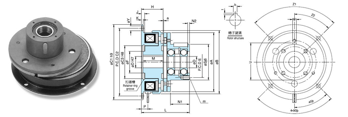 TJ-A2内轴承式电磁离合器属于单片电磁离合器,它具有的特性如下: 1、速度应答,因为是干式频所以扭力的传达很快,可以达到便捷的动作。 2、耐久性高,散热情况良好,而且使用高级的材料,即使是高频率,高能量的使用 3、维护、安装简单,内轴承是一种滚珠轴承,安装极为方便。 4、运作稳定,采用板状弹片,即使有强烈的振动也不会产生松动,安全可靠。 5,可进行扭力调整,利用电流来调整摩擦力,因此可以进行各种不同的用途的运转。 电磁离合器与电磁制动器的应用领域以及用途大致相同,只是内部元件与结构不一样。 TJ-A2内